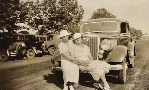 00 1935 ~Dorothy and Aunt Pauline Tomich 2 - Granite City IL -on Walter's V8- Pals - befo