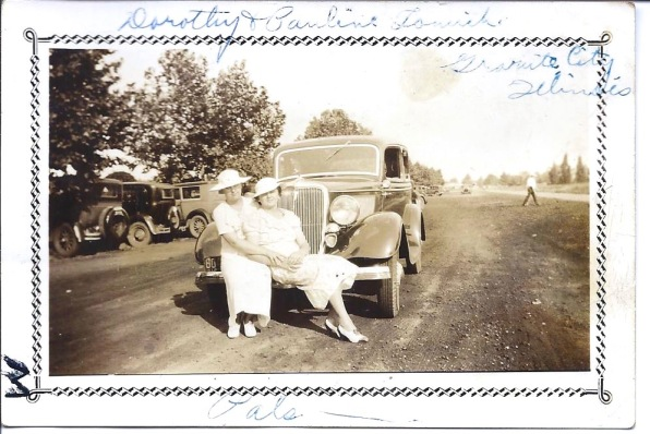 1935 ~Dorothy and Aunt Pauline Tomich - Granite City IL -on Walter's V8- Pals - befo