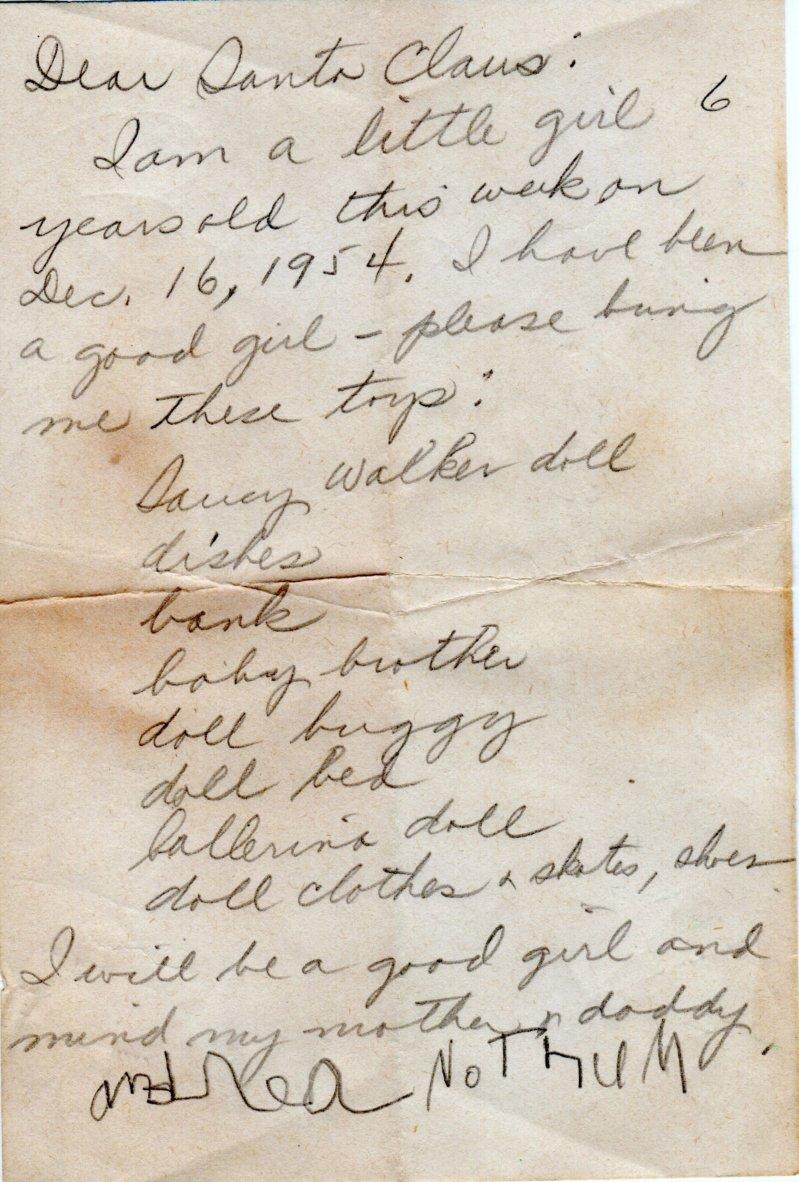 1954 Santa Letter