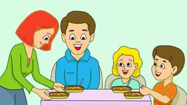 family having meal dinner together